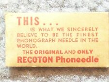 1930 circa RECOTON PHONEEDLE - EACH NEEDLE WILL PLAY TWELVE OR MORE RECORDS