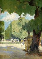 Art Oil painting impressionism nice summer garden landscape & huge trees people