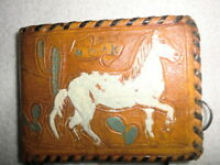 Vintage Western Tooled Leather Child Kid Child Brown Wallet Mexico Horse Cactus