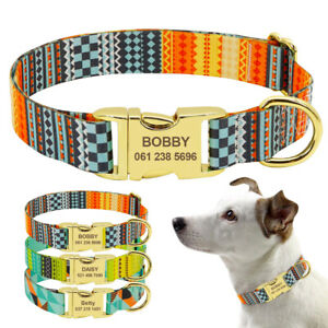 Printed Nylon Dog Collar Personalized Engraved ID Tag Name Plate Adjustable S-L