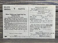 Vintage Receipt Invoice Motor Vehicle And Liquid Fuel Tax 1948 Ohio