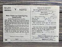 Vintage Receipt Invoice Motor Vehicle And Liquid Fuel Tax 1948 Ohio