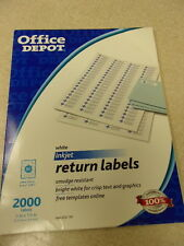 "Office Depot White Inkjet Return Labels 2000 ct. 612-191 1/2"" x 1-3/4"" FREE SHIP"