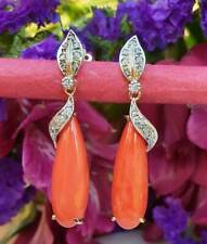Gorgeous Vintage Style 14ct Yellow Gold Coral & Diamonds Tear Drop Earrings