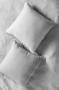 "Anthropologie Euro Sham Reversible Airy Cotton Gauze Light Gray 26"" Sq NIP"