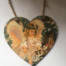 Angel Cherub Memorial Handmade wooden hanging Heart Sparkles 12cm