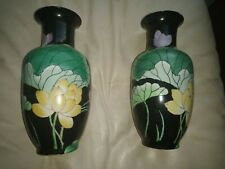 Pair Of Vases Hand Painted