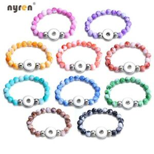 Snap Charms Bracelet Multi Color Acrylic Beads Fit 18mm Snap Button DIY Jewelry