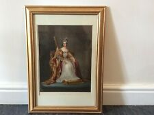 Antique Chromolithograph Print of Queen Victoria in Coronation Robes 1837