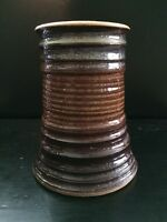 Unique Unusual Hand Made Wheel Thrown Pottery Vase Wide Mouth Wide Base Signed
