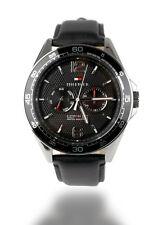 TOMMY HILFIGER Herren Armbanduhr Uhr Edelstahl Silber Leder Schwarz 1791369