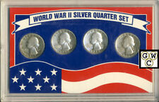 USA World War II Silver Quarter 4 Coin Set (OOAK)