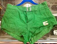 Vintage 1930's  Basketball Uniform Cotton Shorts Green Sz 32 Excellent Conditio