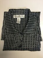 Jones New York Women's Silk Blouse Top Striped Black White Size 8 $ 79 NEW🔥