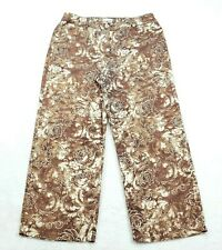 Chico's 0 (Womens Size 4) Lightweight Capri Pants, Brown Floral Pattern Mid Rise