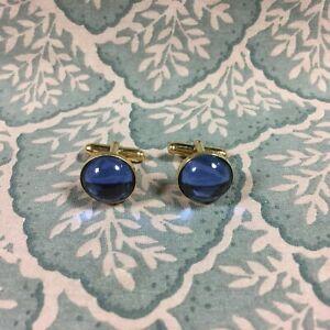 René Lalique Gold Blue Crystal Cabochon Cufflinks