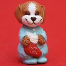 Hallmark Merry Miniatures Christmas 1992 Dog in Pj's Qfm9081 Son Puppy
