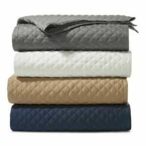 Hudson Park DOUBLE DIAMOND COVERLET Queen Champagne Bedding New $270