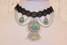 Kette NEU Halskette Choker silber türkis schwarz Nickel Frei style trendy