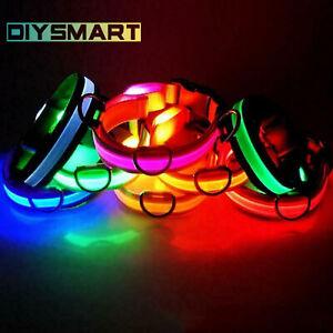 Pets Dog Collars Nylon LED Light USB Recharge Night Safety Light-up