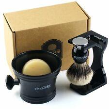 4in1 Shaving Kit Badger Silver tip Hair Brush Soap Resin Acrylic Cup Holder Set