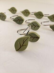 Set Of Shower Curtain Hooks Leaf Design