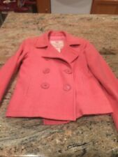 Abercrombie & Fitch Womens XS Small Pink Peacoat Jacket Double Breasted