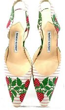 MANOLO BLAHNIK SLING BACK STRAWBERRY DETAIL FABRIC POINTED HEELS SIZE 8.5 US