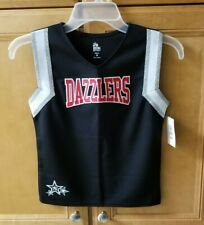 Youth Medium Cheer Top Shell Vest Uniform Black Red Silver Ion Cheer Nwt