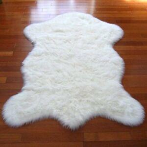 Sheepskin Faux Fur White Area Rug Safavieh 5 ft. x 7 ft. Pelt Shape