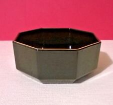 Stylish Vintage Arcoroc French Black Octagonal Open Sugar Bowl with Gold Rim