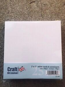 """Craft UK  7""""X7"""" White CARDS (300GSM) & ENVELOPES(100GSM)-25 PK-SCORED"""