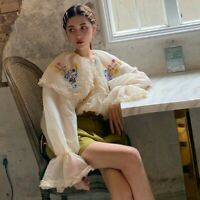 Lady Lace Ruffle Loose Shirt Blouse Floral Embroidery Fairy Medieval Retro Top