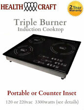 Triple-Burner Induction Cooktop Counter Inset or Portable 120 or 220vac