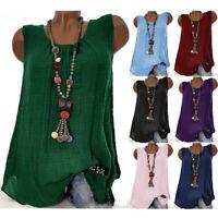 Women Sleeveless T-shirt Round Neck Cotton Linen Vest Blouse Tank Tops Plus Size