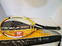wish sports pro 580 tennis racquet yellow black hybrid design w/ carrying  case