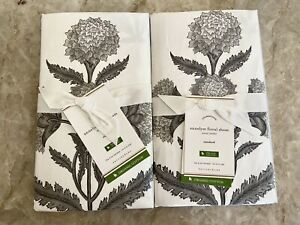 2 New Pottery Barn Shams Annelyse Floral Gray White Standard *Rare*