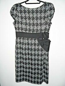 PER UNA Shift Midi Dress Size 16 Black & Grey Houndstooth Zip Shoulder Pads M&S