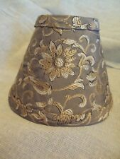"ornate flower scrolled brown gold white simba silk 5"" mini clip lamp shade set 2"