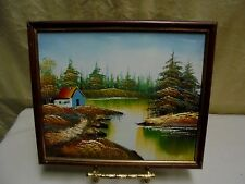 VTG 1970s Framed Cabin on River Wilderness Landscape Oil Painting 10.5 x 8.5