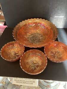 IMPERIAL GRAPE RUBIGOLD MARIGOLD CARNIVAL GLASS LARGE BOWL & 3 SMALL BOWLS