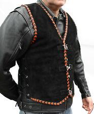 Men's Motorcycle Harley Style Spanish Braid Suede Vest with Clips Black/Orange