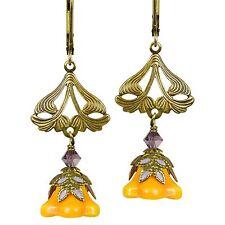 NWT ~ Flower Fairy Leverback Earrings Love Light Gold/Orange/Lavender FE2B15 NEW