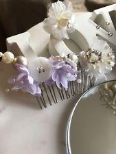 Lilac Theme Bridal Hair Comb Button Beaded Floral Handmade Brooch Veil