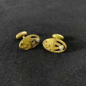Mens Womens Antique Gold Toned Cufflinks With Seed Pearl Nice Age HA & Co