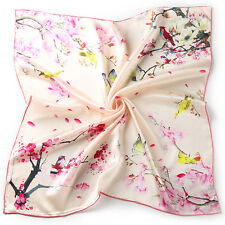 "26"" Small Square 100% Silk Scarf Women neckerchief Shawl Wrap pink red S116-014"