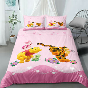 Duvet Quilt Cover Set Single Double King Super King Bed Set Winnie the Pooh Pink