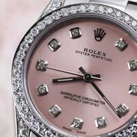 Diamond Ladies Rolex Oyster Perpetual 31mm Pink Dial Watch 68274