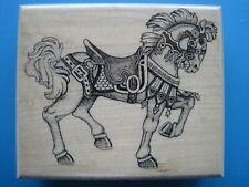 CAROUSEL HORSE LG - Mostly Animals Rubber Stamp - Stallion Saddle Bridle Royal
