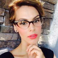 50's Vintage Retro Cat Eye Gradient Frame Women Clear Lens Eyeglasses Rhinestone